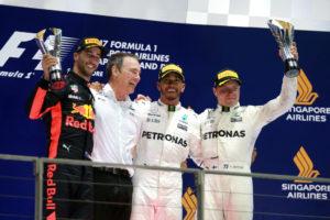 Daniel Ricciardo, Lewis Hamilton, Valtteri Bottas