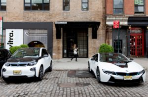BMW i3, BMW i8, outside Soho House, New York