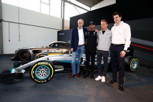 Dieter Zetsche, Lewis Hamilton, Nico Rosberg, Toto Wolff