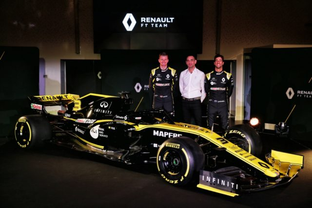 Nico Hulkenberg, Cyril Abiteboul. Daniel Ricciardo