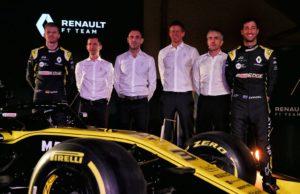 Nico Hulkenberg, Rémi Taffin, Cyril Abiteboul, Marcin Budkowski, Nick Chester, Daniel Ricciardo